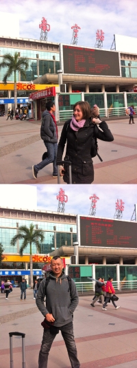 arriving at the train station in Nanning